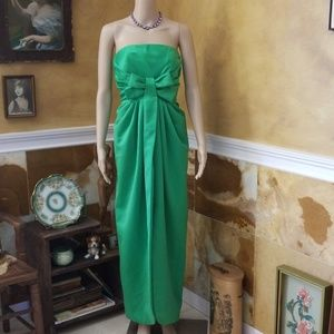 Stunning Vtg 60s 70s Victor Costa Emerald Bow Gown